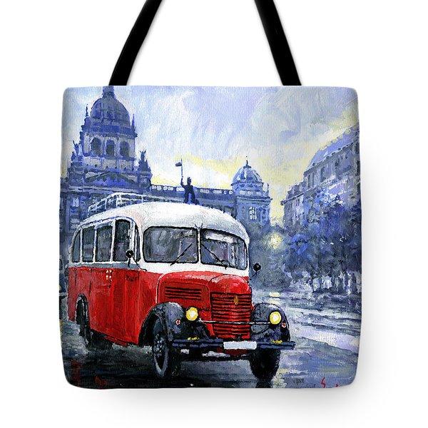Praha Rnd Bus 1950 Skoda 706 Ro Tote Bag by Yuriy Shevchuk