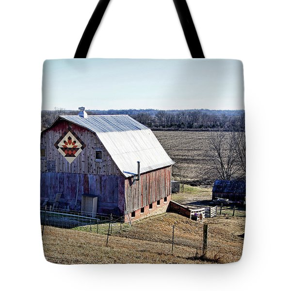 Tote Bag featuring the photograph Prairie Flower Quilt Barn by Cricket Hackmann