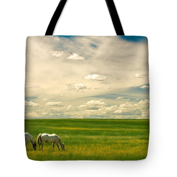 Tote Bag featuring the photograph Prairie Horses by Todd Klassy