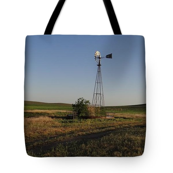 Prairie Windmill At Sunset Tote Bag