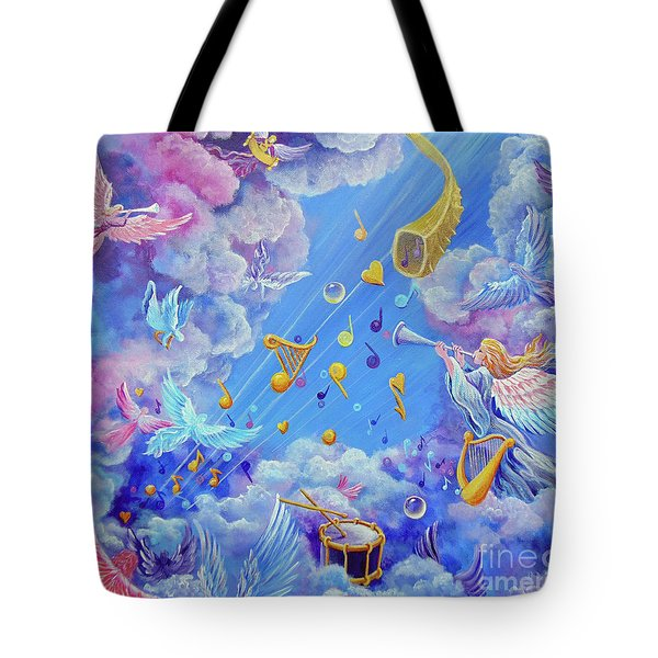 Tote Bag featuring the painting Praise Him From The Heavens by Nancy Cupp
