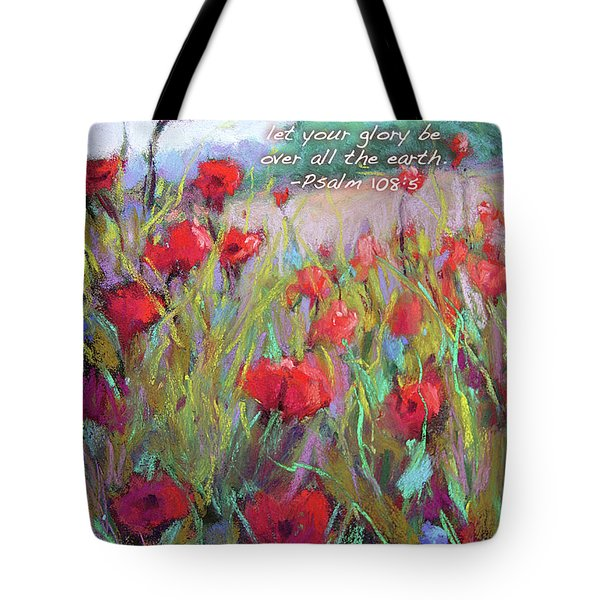 Praising Poppies With Bible Verse Tote Bag