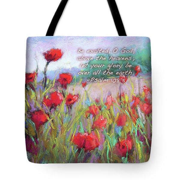 Praising Poppies With Bible Verse Tote Bag