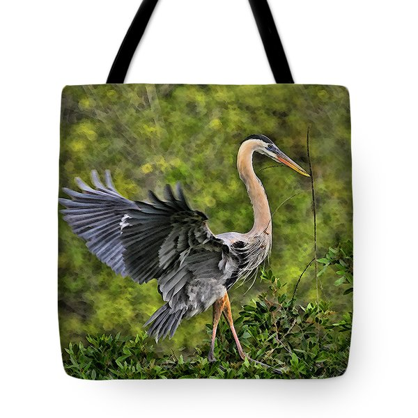 Tote Bag featuring the photograph Prancing Heron by Shari Jardina
