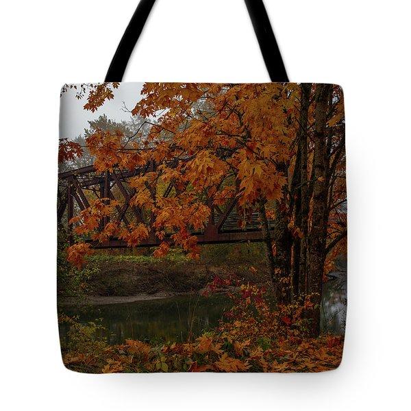 Pratt Truss Railroad Bridge Decked Out In Fall Colors Tote Bag