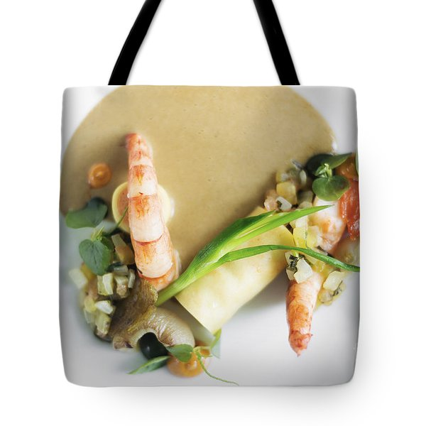 Prawns With Grilled Vegetables Prawn Mousse Roll And Mushroom Sauce Tote Bag