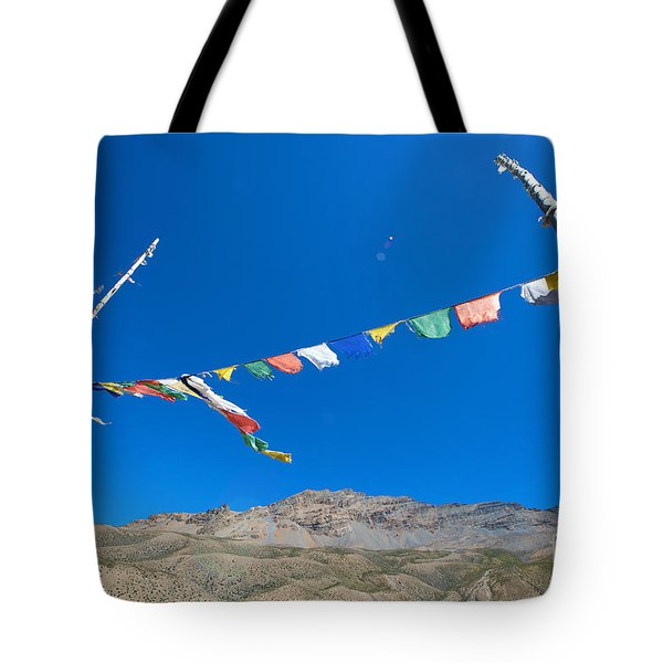 Tote Bag featuring the photograph Prayer Flag by Yew Kwang