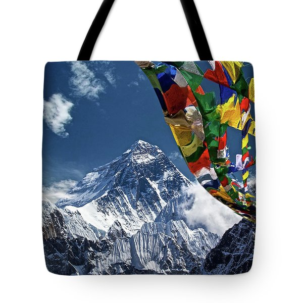 Prayer Flags, Mount Everest Tote Bag