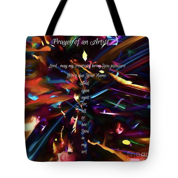 Tote Bag featuring the digital art Prayer Of An Artist by Margie Chapman