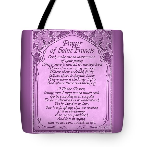 Tote Bag featuring the digital art Prayer Of Saint Francis - Pope Francis Prayer -orchid Art Nouveau  by Ginny Gaura