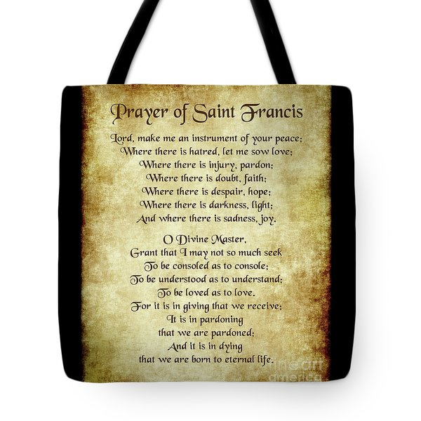 Prayer Of St Francis - Antique Parchment Tote Bag by Ginny Gaura