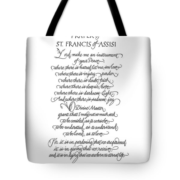 Prayer Of St. Francis Of Assisi Tote Bag