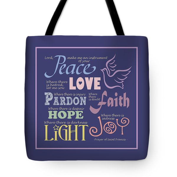 Prayer Of St Francis - Square Pastel Typographic Tote Bag by Ginny Gaura