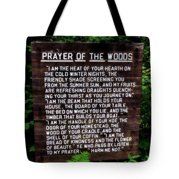 Prayer Of The Woods Tote Bag