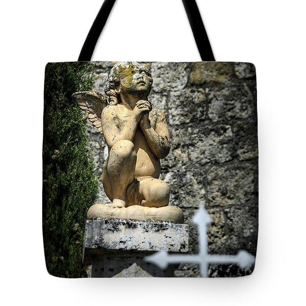Praying Angel In Auvillar Cemetery Tote Bag by RicardMN Photography