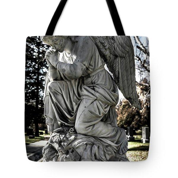 Praying Cemetery Angel  Tote Bag by Gary Whitton
