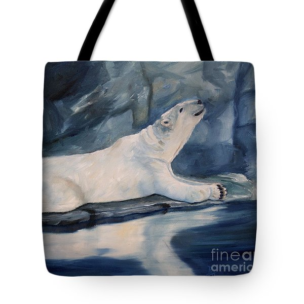 Praying Polar Bear Original Oil Painting Tote Bag