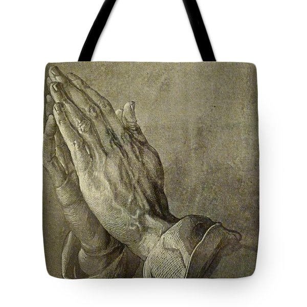 Praying Hands Tote Bag by Troy Caperton
