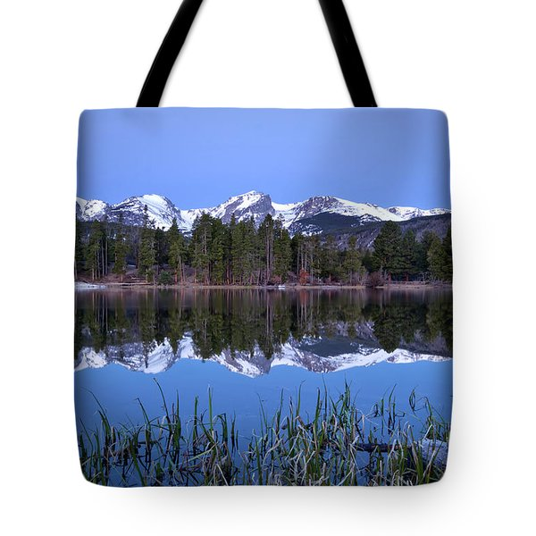 Pre Dawn Image Of The Continental Divide And A Sprague Lake Refl Tote Bag