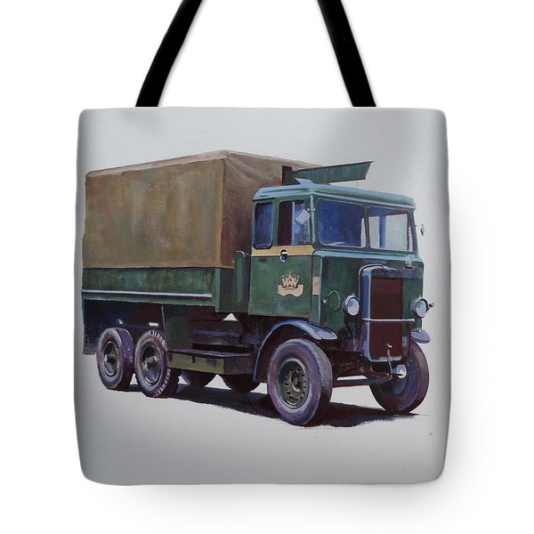 Tote Bag featuring the painting Pre-war Leyland Wrecker. by Mike Jeffries