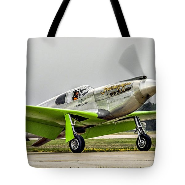 Tote Bag featuring the photograph Precious Metal Final Flight by Alan Toepfer