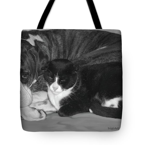 Precious Pals Tote Bag by DigiArt Diaries by Vicky B Fuller