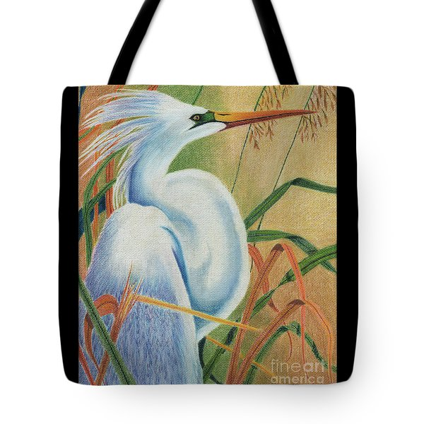 Preening Egret Tote Bag by Peter Piatt
