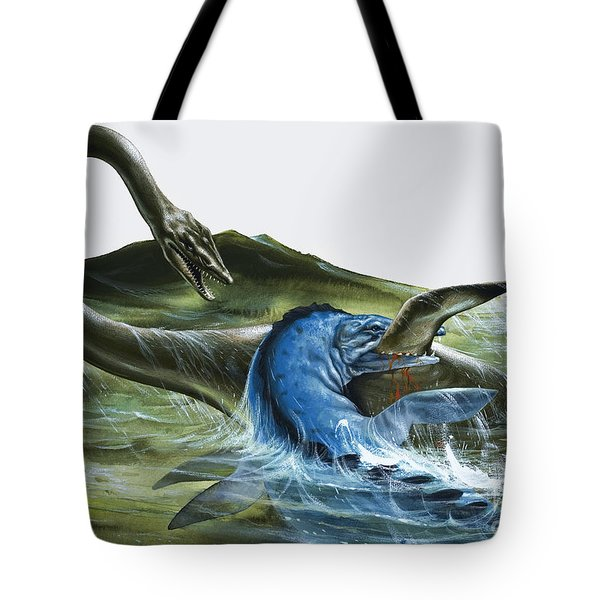 Prehistoric Creatures Tote Bag by David Nockels