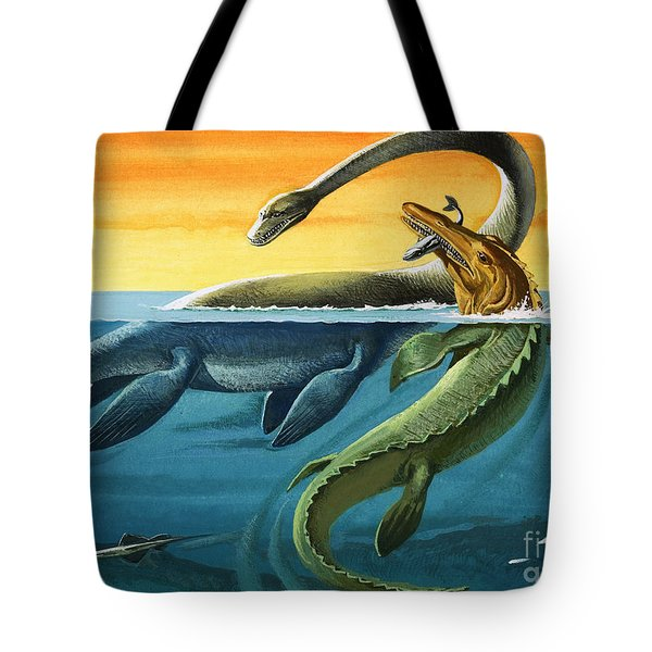 Prehistoric Creatures In The Ocean Tote Bag