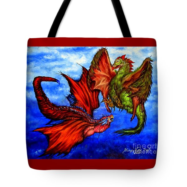Prehistoric Fighting Fowl Tote Bag