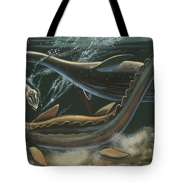 Prehistoric Marine Animals, Underwater View Tote Bag