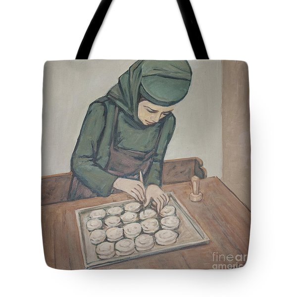 Preparing Communion Bread Tote Bag