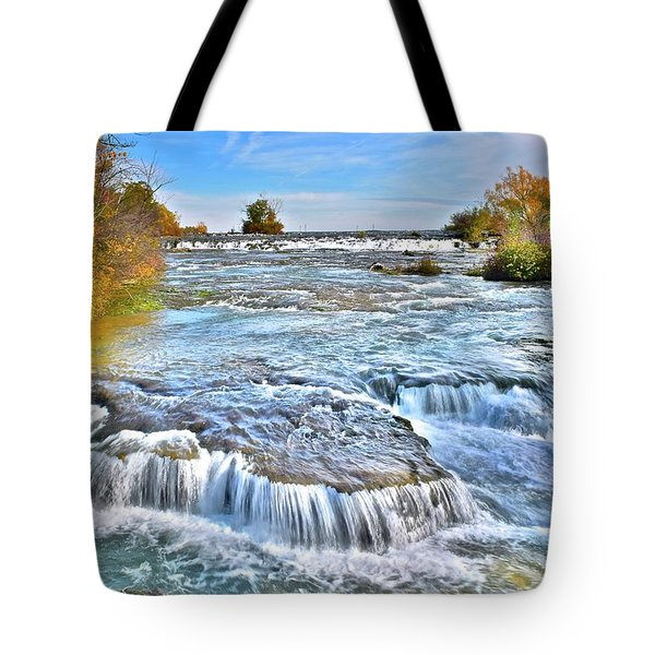 Tote Bag featuring the photograph Preparing For The Big Fall by Frozen in Time Fine Art Photography