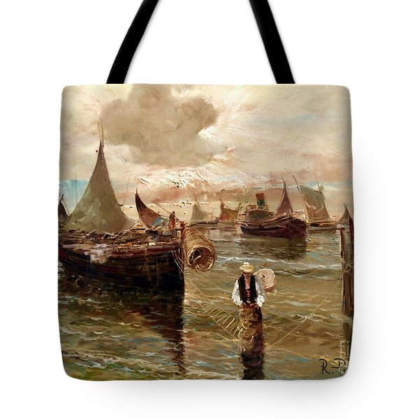 Tote Bag featuring the painting Preparing The Trap by Rosario Piazza