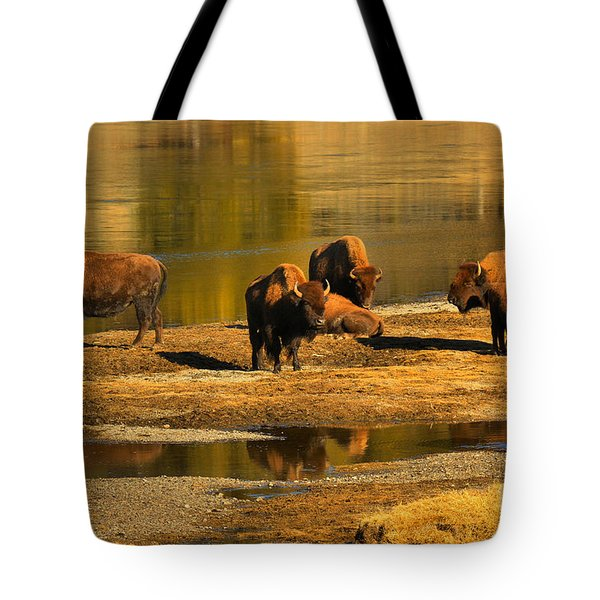 Tote Bag featuring the photograph Preparing To Cross The Yellowstone River by Adam Jewell