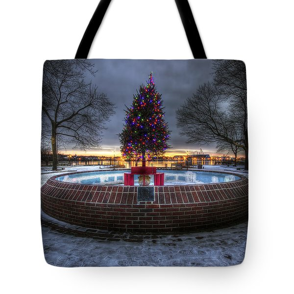 Prescott Park Christmas Tree Tote Bag by Eric Gendron