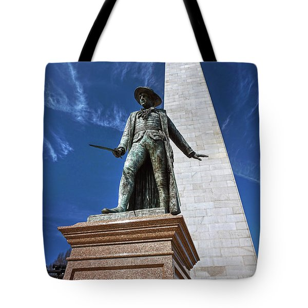 Tote Bag featuring the photograph Prescott Statue On Bunker Hill by Wayne Marshall Chase