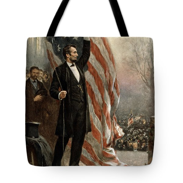 President Abraham Lincoln - American Flag Tote Bag