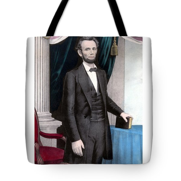 President Abraham Lincoln In Color Tote Bag