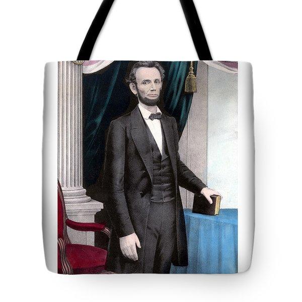 President Abraham Lincoln In Color Tote Bag