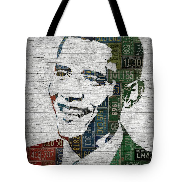 President Barack Obama Portrait United States License Plates Edition Two Tote Bag by Design Turnpike