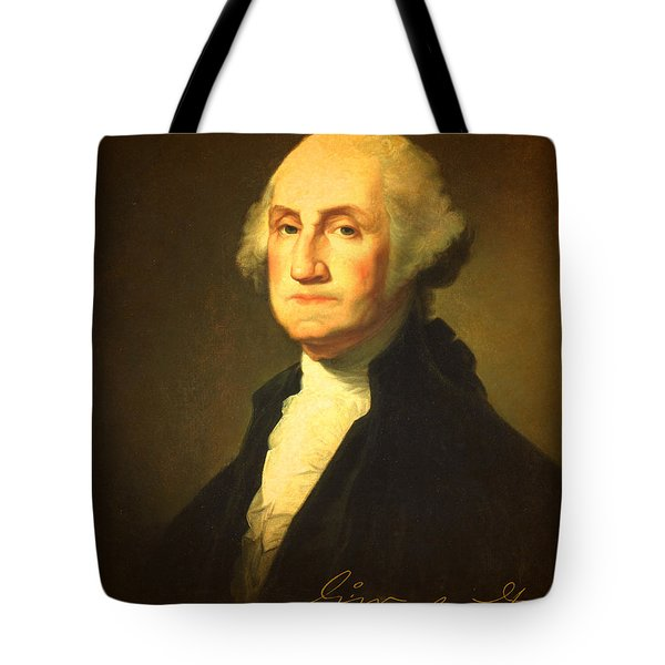 President George Washington Portrait And Signature Tote Bag by Design Turnpike