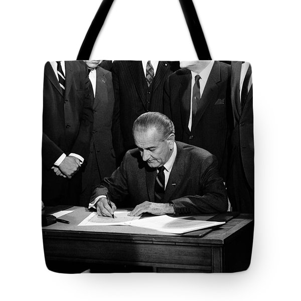 President Johnson Signing Civil Rights Bill - 1968 Tote Bag