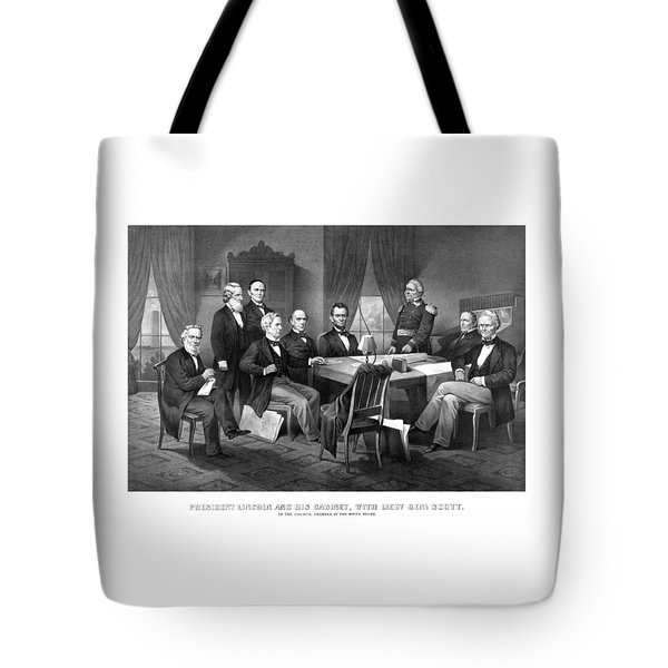 President Lincoln His Cabinet And General Scott Tote Bag