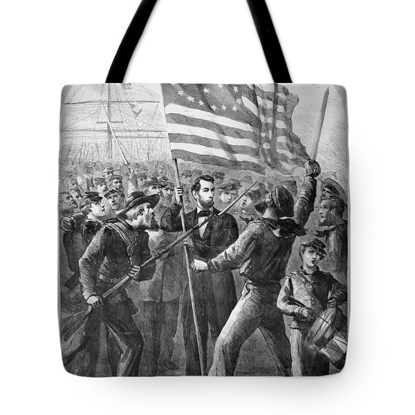 President Lincoln Holding The American Flag Tote Bag by War Is Hell Store
