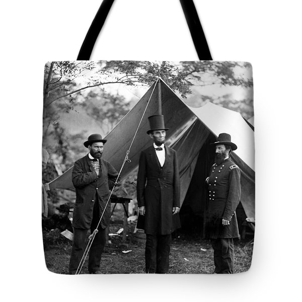 President Lincoln Meets With Generals After Victory At Antietam Tote Bag by International  Images