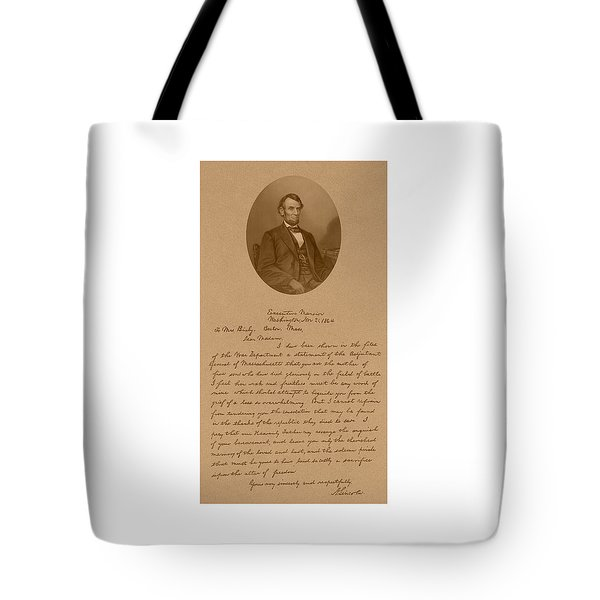 President Lincoln's Letter To Mrs. Bixby Tote Bag by War Is Hell Store