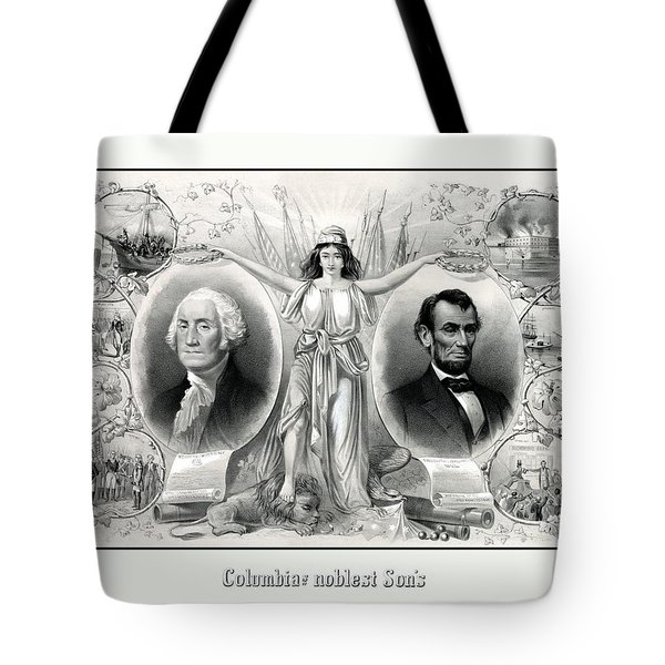 Presidents Washington And Lincoln Tote Bag