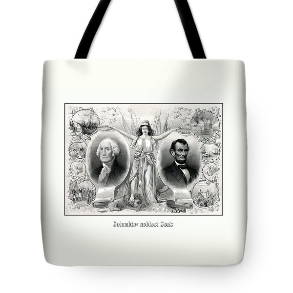 Presidents Washington And Lincoln Tote Bag by War Is Hell Store