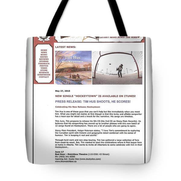 Press Release Carole Spandau Paints Cover Art For Hockeytown Cd By Tim Hus Tote Bag by Carole Spandau